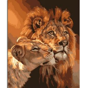 Frameless Lion Kings DIY Coloring Oil Painting By Numbers Kits Drawing Paint On Canvas For Wall Art Picture For living room 40x50cmx1pcs