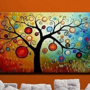 Hand painted modern abstract money tree canvas wall art oil painting on canvas home decoration unique gift artwork No Frame 60cmx120cm