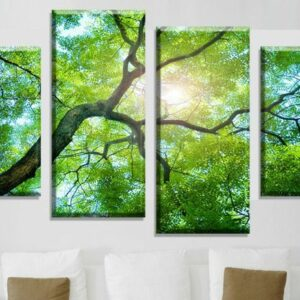 4 Panel Green tree Canvas Wall Art Picture Home Decoration Living Room Canvas Print Modern  20x40cmx2 20x60cmx2