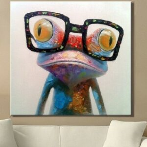 Oil Painting hand painted Oil Painting on Canvas Abstract Animal Wall Art for Home Decoration Happy Frog no frame 70x70cm