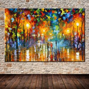 Large Handpainted Lover Rain Street Tree Lamp Landscape Oil Painting On Canvas Wall Art Wall Pictures For Living Room Home Decor 120x200cm