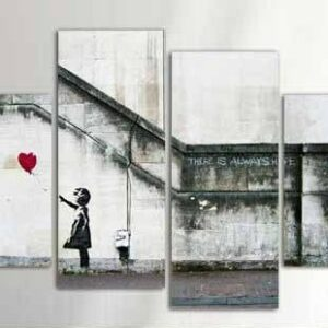 4 pcs modern home wall decorative banksy there is always hope Wall Art Picture printed Canvas art  12x20inx2 12x28inx2