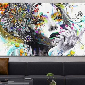 DP ARTISAN Modern wall art girl with flowers oil painting Prints Painting on canvas No frame Pictures Decor For Living Room 18inchx36inch