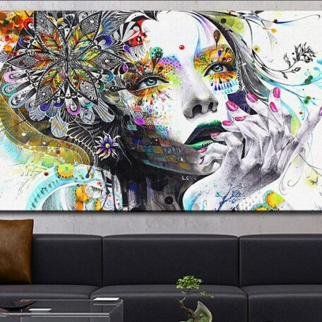 DP ARTISAN Modern wall art girl with flowers oil painting Prints Painting on canvas No frame Pictures Decor For Living Room 20inchx40inch
