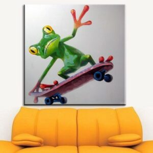 Oil Painting hand painted Oil Painting on Canvas Abstract Animal Wall Art for Home Decoration Happy Frog no frame 60x60cm