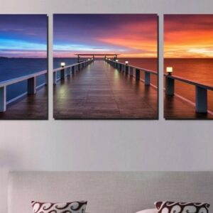 3 Panel Canvas Morning Sunrise On Sea Bridge Modern Wall Pictures Beautiful Lanscape Art For Living Room Decor No Frame 50x50cmx3pcs