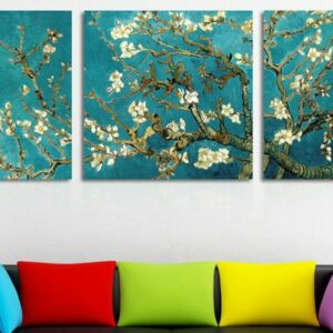 Print Painted Van Gogh Oil Painting Reproductions 3 Piece Abstract Canvas Art Almond Flower Picture Modern Wall Decor 60x60cmx3