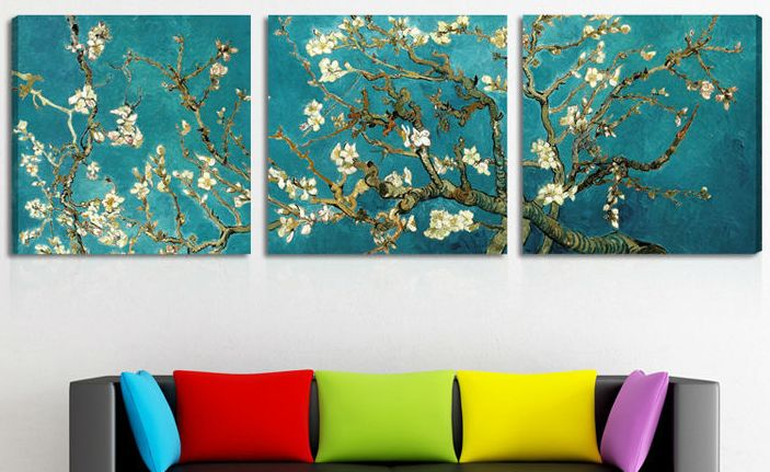 3 piece canvas art diy print painted van gogh oil painting reproductions piece abstract canvas art almond flower picture modern wall decor 60x60cmx3