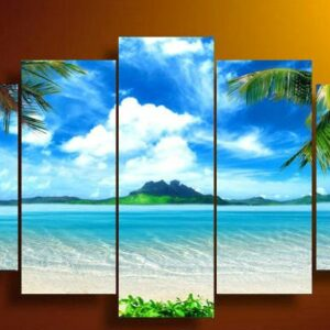 Unframed 5 Panel Wall Art Canvas blue sky and white clouds sea Pictures Decor living room 30x50cmx2, 30x65cmx2, 30x80cmx1