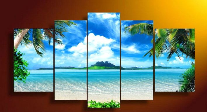 Framed 5 Panel Wall Art Canvas blue sky and white clouds sea Pictures Decor living room 20x35cmx2 20x45cmx2 20x55cmx1 & Framed 5 Panel Wall Art Canvas blue sky and white clouds sea ...