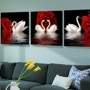 3 Panel Pictures Modern Canvas Wall Pictures For Living Room Swan Rose HD Print  80x80cm3pcs