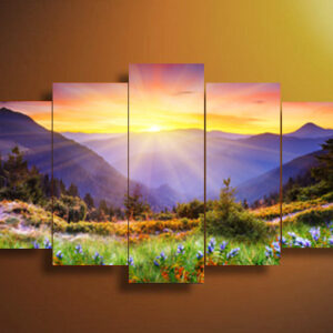 5 Panel Mountain forest sunshine Wall Art Picture Home Decoration Living Room Canvas Print Modern 25x40cmx2pcs, 20x50cmx2pcs, 20x60cmx1pcs