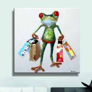 Oil Painting hand painted Oil Painting on Canvas Abstract Animal Wall Art for Home Decoration  Frog no frame 50x50cm