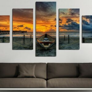 5 Piece sunset Seaview boat Canvas Large Print Art for Living Room Wall art Home Decoration 30x40cmx2pcs 30X60cmx2pcs 30X80cmx1pcs