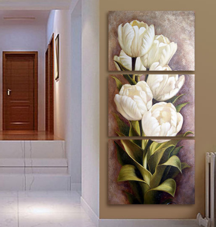 3 Piece Living Room Modern Wall Flower Decorative Art Pictures Print On Canvas No Frame 40x50cmx3pcs